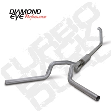 "Diamond Eye K4320A 4"" Turbo Back Dual Side Aluminized Exhaust System for 1999-2003 Ford 7.3L Powerstroke"