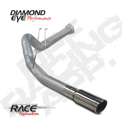 "Diamond Eye K4376S 4"" Filter Back Single Side 409 Stainless Steel Exhaust System for 2011-2015 Ford 6.7L Powerstroke"