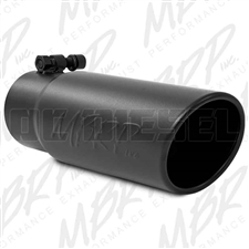 "MBRP T5115BLK 3.5"" Rolled Edge Angle Cut Black Coated Stainless T409 Exhaust Tip"