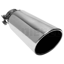 "MagnaFlow 35215 6"" Clamp On Round Single Wall Rolled Edge Angle Cut Exhaust Tip"