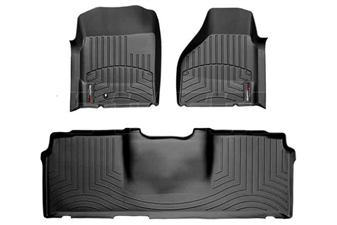WeatherTech 44012-1-3 Black FloorLiner Set for 2006-2009 Dodge 5.9L, 6.7L Cummins