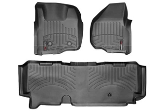 WeatherTech 44305-1-3 Black FloorLiner Set for 2011-2012 Ford 6.7L Powerstroke