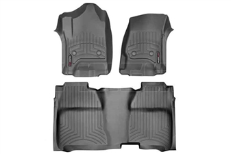 WeatherTech 446071-445422 Black FloorLiner Set for 2014-2017 GM 6.6L Duramax LML, LP5