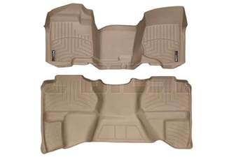 WeatherTech 452941-450669 Tan FloorLiner Set for 2007-2013 GM 6.6L Duramax LMM, LML