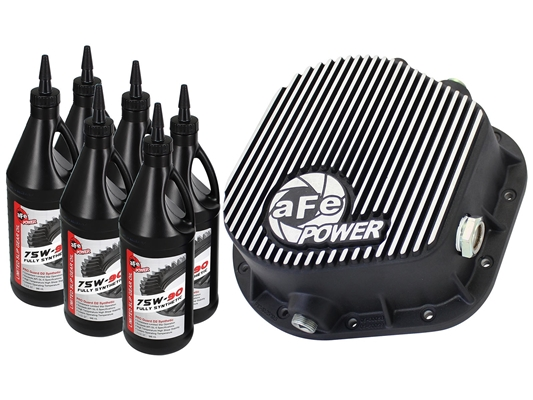 aFe Power 46-70022-WL Pro Series Rear Differential Cover Machined Fins with Gear Oil for 1986-2016 Ford 7.3L, 6.0L, 6.4L, 6.7L Powerstroke