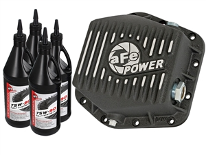aFe Power 46-70302-WL Pro Series Rear Differential Cover Machined Fins with Gear Oil for 2016 GM 2.8L Duramax LWN