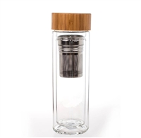 Borosilicate glass bamboo tea infuser bottle