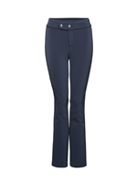 black fitted ladies dress ski pants with font button/ zipper closure and slight leg flare