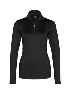 women's longsleeved quarter front zip fitted base layer top with gold hardware