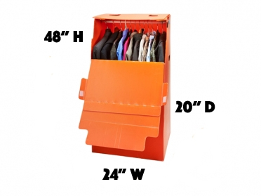 Orange waredrobe box to hang clothes when moving