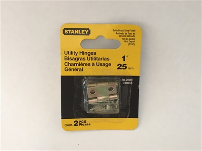 "Stanley Hardware 802000 1"" Satin Brass Utility Hinges, 2 Pieces"