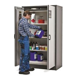 Fire-Proof Hazardous Materials Cupboard - Grey