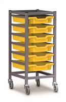 Single Column Gratnells Trolley With Trays