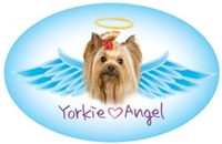 Yorkie Angel Oval Magnet - A54