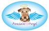 Airedale Angel Oval Magnet - A85
