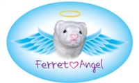 Ferret Angel (White) Oval Magnet - A89