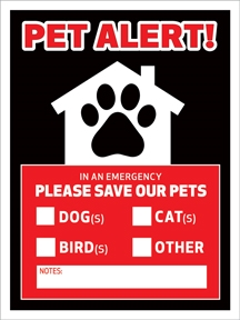 Emergency Pet Alert Window Clings - Made in the USA