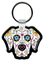 Sugar Skull Dog Flexible Key Chain