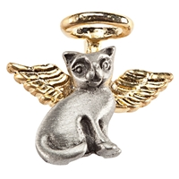 Cat Angel Pin with Gold Tone Halo