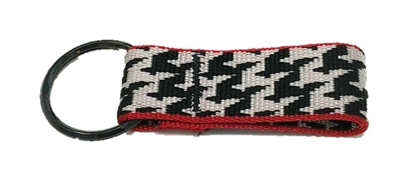 Bison Designs Houndstooth Black & White Key Chain
