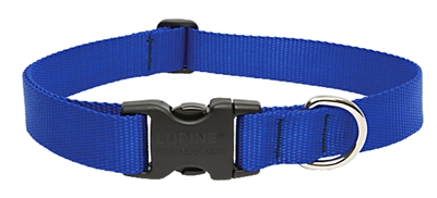"Lupine Basic Solids 1"" Blue 25-31"" Adjustable Collar for Medium and Larger Dogs"