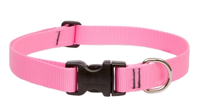 "Lupine Basic Solids 1"" Pink 16-28"" Adjustable Collar for Medium and Larger Dogs"
