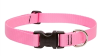 "Lupine Basic Solids 1"" Pink 25-31"" Adjustable Collar for Medium and Larger Dogs"