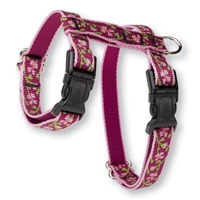 "Retired Lupine 1/2"" Cherry Blossom 9-14"" H-Style Cat Harness"