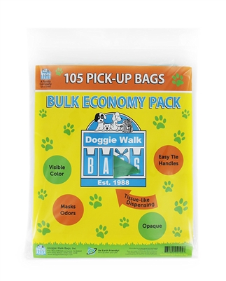 Doggie Walk Bags Tie Handle Bags - 105 Green Unscented
