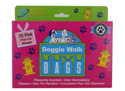 Doggie Walk Bags Tie Handle Bags - Box of 70 Pop Up Pink Bags