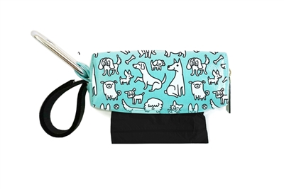 Doggie Walk Bags - Aqua with White Dogs Square Duffel