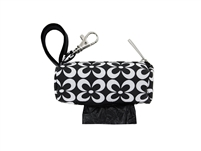Doggie Walk Bags - Black & White Flowers - Round Duffel