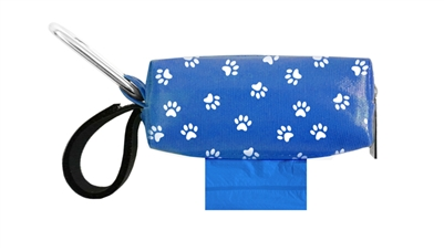Doggie Walk Bags - Blue with White Paws Duffel