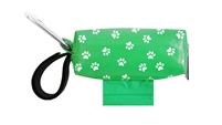 Doggie Walk Bags - Green with White Paws Duffel