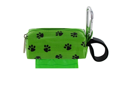 Doggie Walk Bags - Green with Black Paws Square Duffel