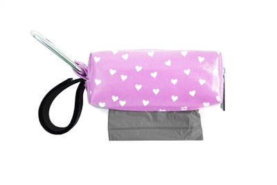 Doggie Walk Bags - Lilac with White Hearts Square Duffel