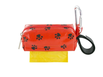 Doggie Walk Bags - Orange with Black Paws Square Duffel