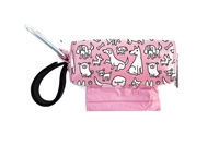 Doggie Walk Bags - Pink with White Dogs Square Duffel