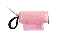 Doggie Walk Bags - Pink with Gold Dots Square Duffel