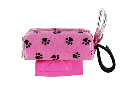 Doggie Walk Bags - Pink with Black Paw Square Duffel