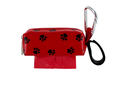 Doggie Walk Bags - Red with Black Paws Square Duffel