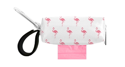 Doggie Walk Bags - White with Pink Flamingos Duffel