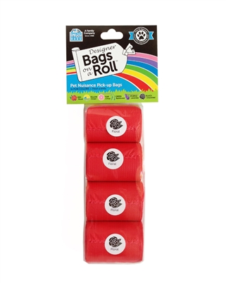Doggie Walk - Red Non Tie Handle Refill - 4 Bags