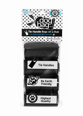 Doggie Walk - Black Tie Handle Refill - 4 Rolls