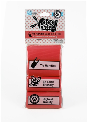 Doggie Walk - Red Tie Handle Refill - 4 Rolls