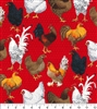 Farm Chickens on Red  - Pleated Style Face Mask