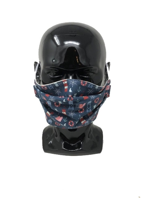 Lighthouses Navy  - Pleated Style Face Mask