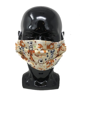 Dog - Pups and Paws Pleated Style Face Mask