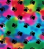 Tie Dye with Black Paws - Pleated Style Face Mask - Adult with Filter Pocket