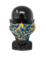 Pleated Style Face Mask -Tie Dye with White Bones & Paws- Adult with Filter Pocket